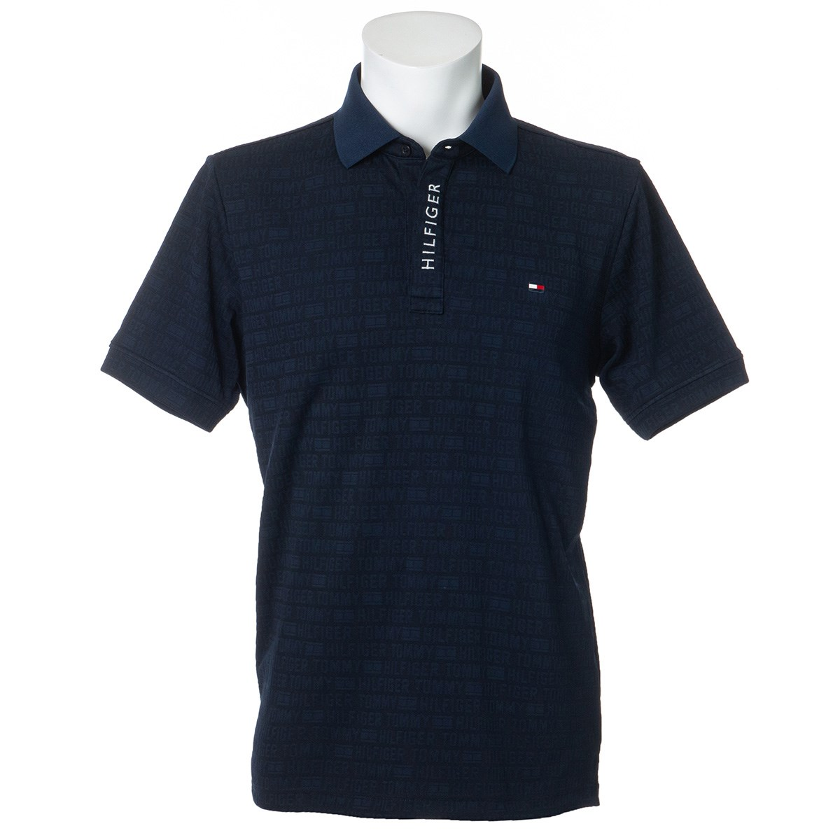 [40%OFF 秋冬クリアランスセール] トミー ヒルフィガー ゴルフ ロゴジャカード半袖ポロシャツ ネイビー 30 メンズ ゴルフウェア