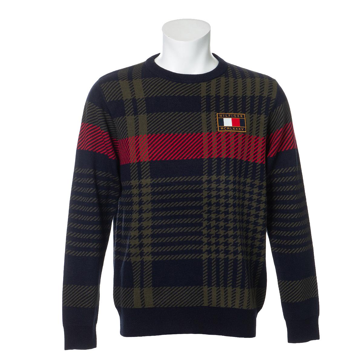 ビッグチェック クルーネックセーター