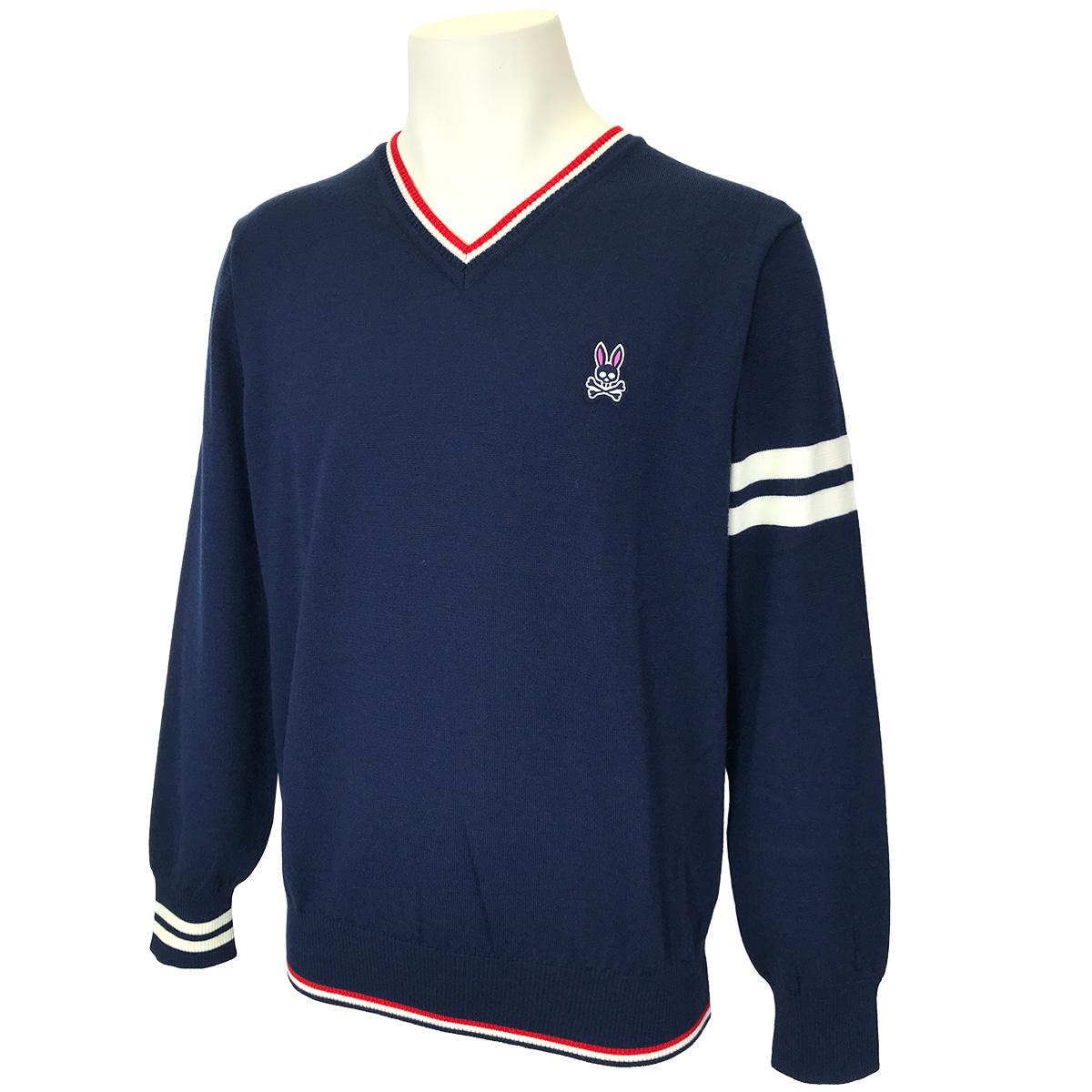 スリーブライン ワンポイントVネックセーター