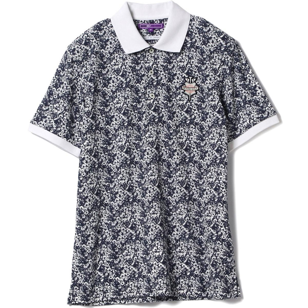 ビームスゴルフ BEAMS GOLF PURPLE LABEL モノトーン 小花 ポロシャツ