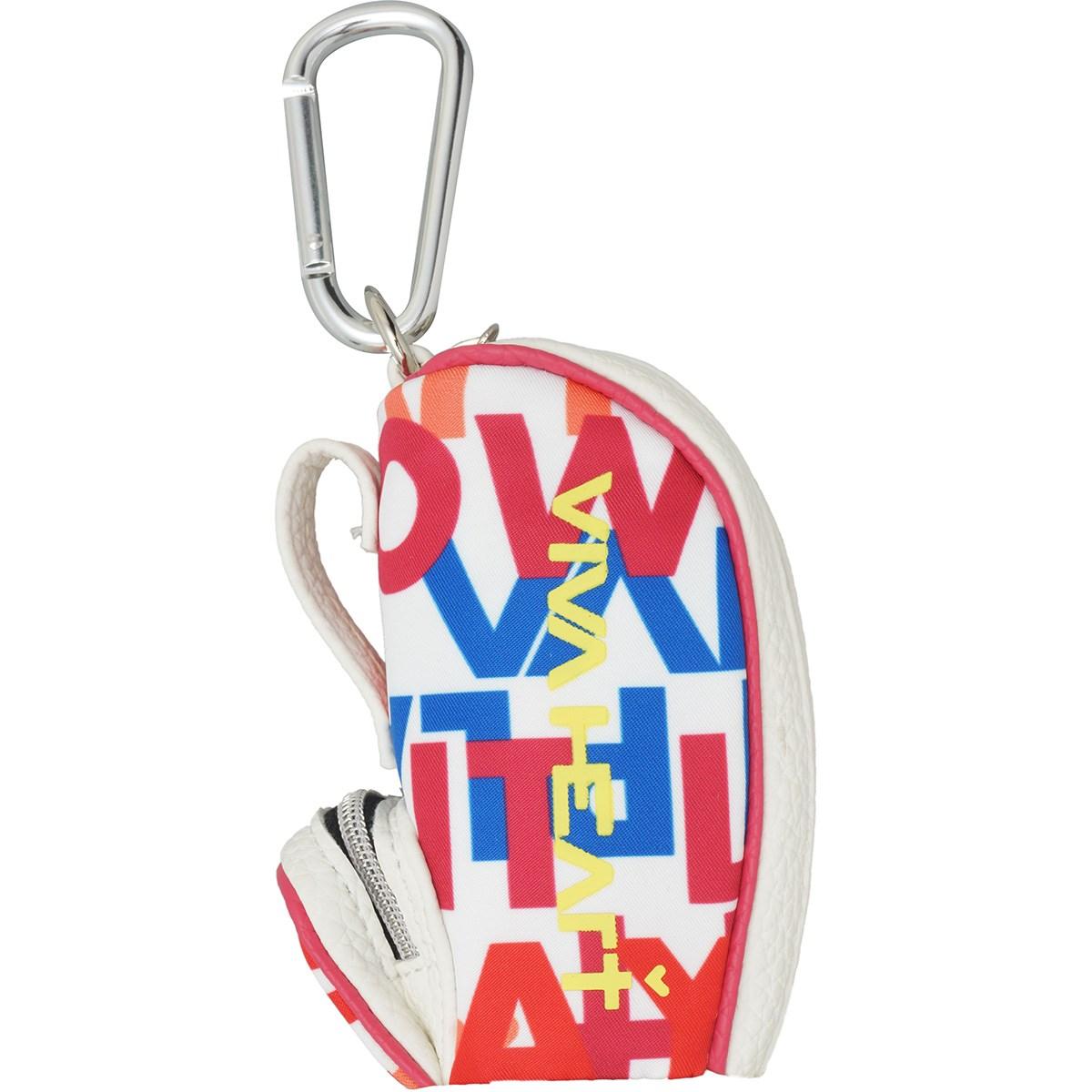 ビバハート ロゴ×スローガンプリント キャディバッグ型ボールポーチ