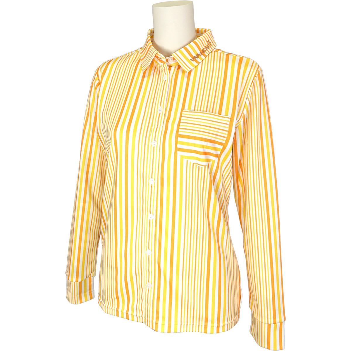 ビバハート VIVA HEART ストライププリント 鹿の子長袖シャツ 40(M) イエロー 034 レディス