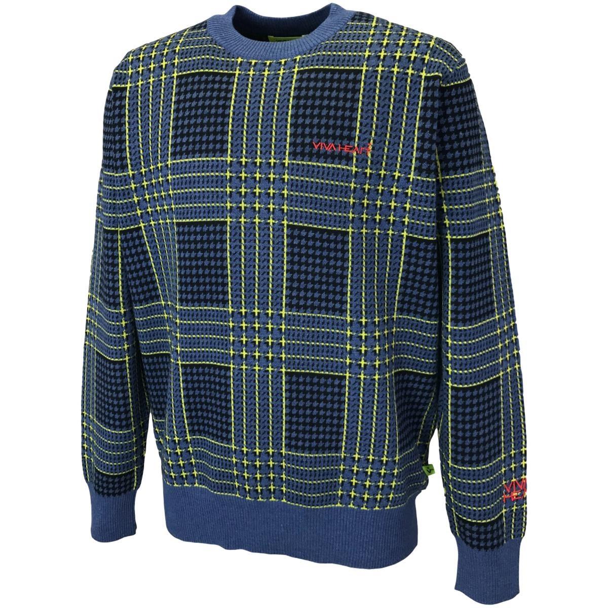 ビバハート ストレッチ 千鳥チェッククルーネックセーター
