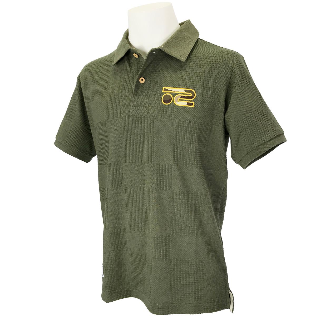 ワッフルパイルジャカード半袖ポロシャツ