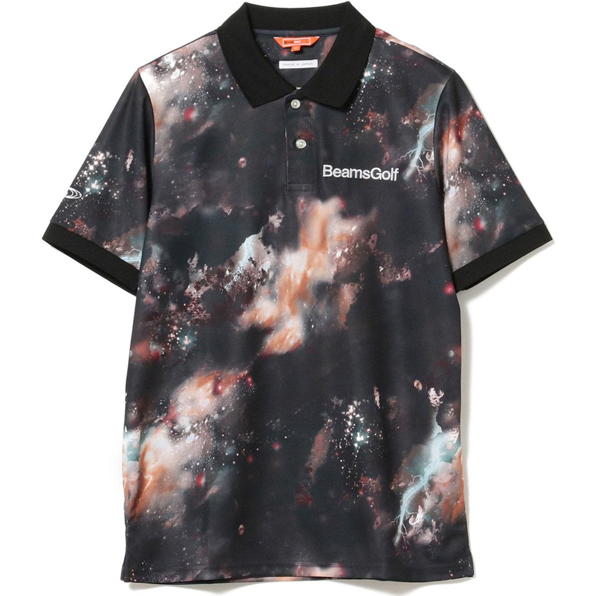 BEAMS GOLF ORANGE LABEL 宇宙柄 転写プリント ポロシャツ