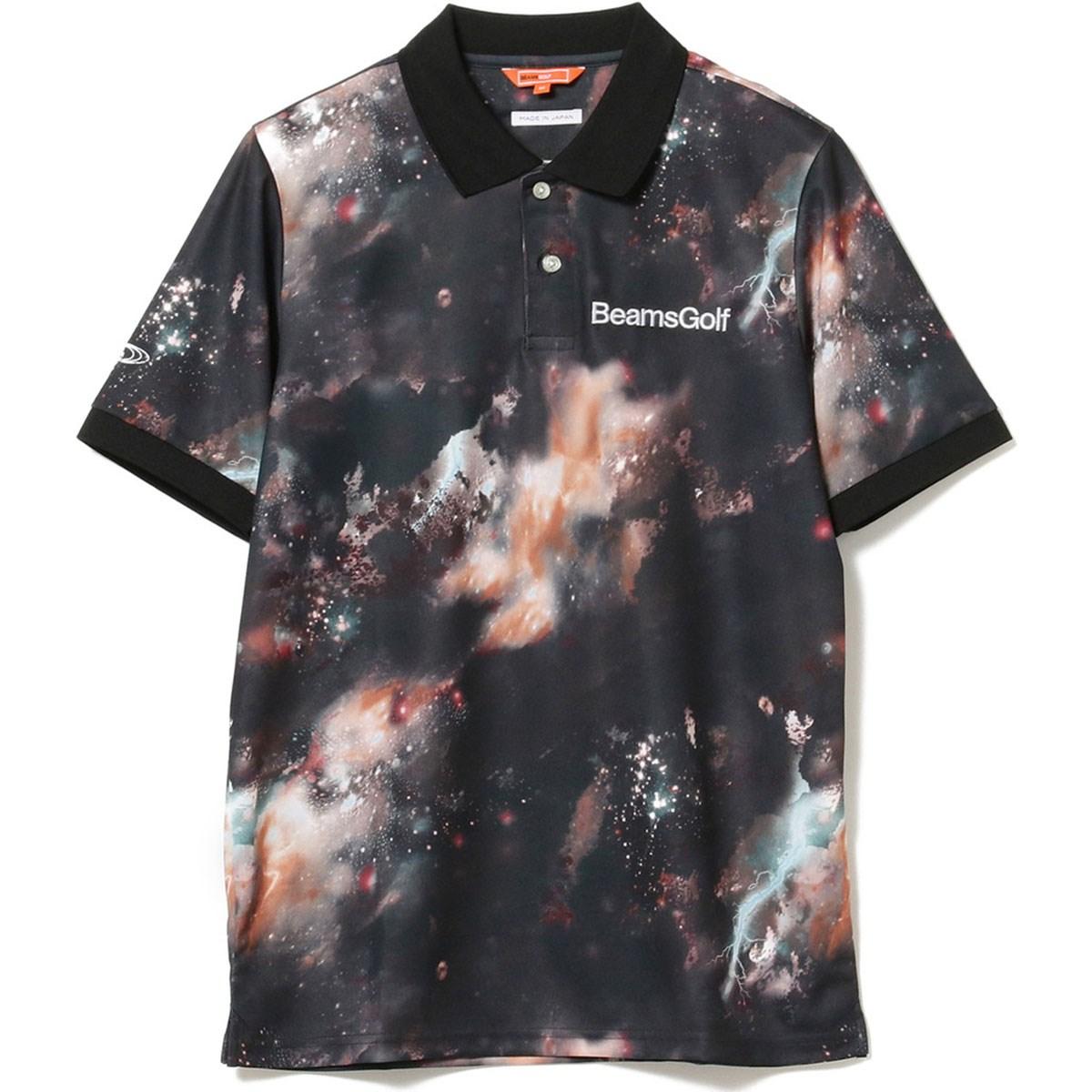 ビームスゴルフ BEAMS GOLF ORANGE LABEL 宇宙柄 転写プリント ポロシャツ