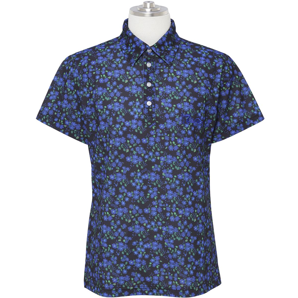 ジャガーフラワープリントストレッチ半袖ポロシャツ