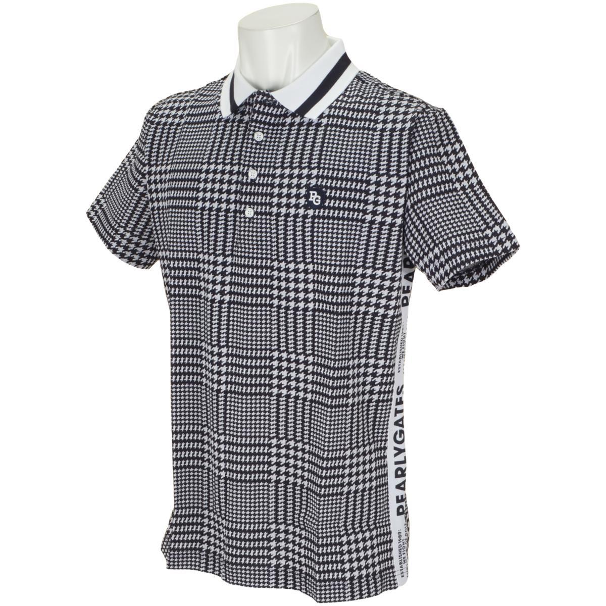 グレンチェック鹿の子ジャカード 半袖ポロシャツ