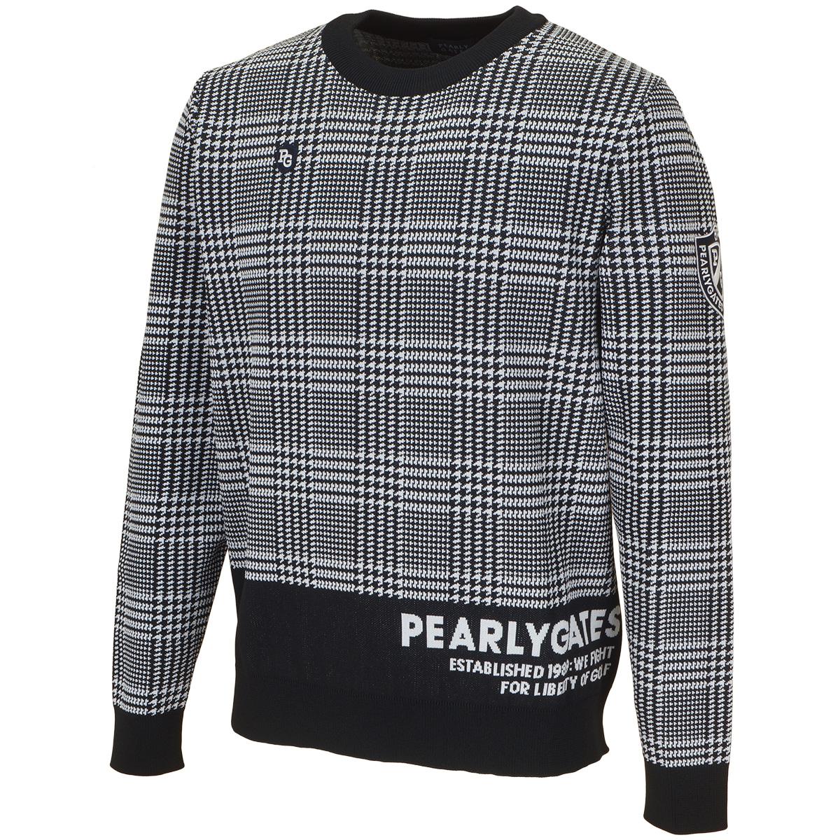 グレンチェック 長袖セーター