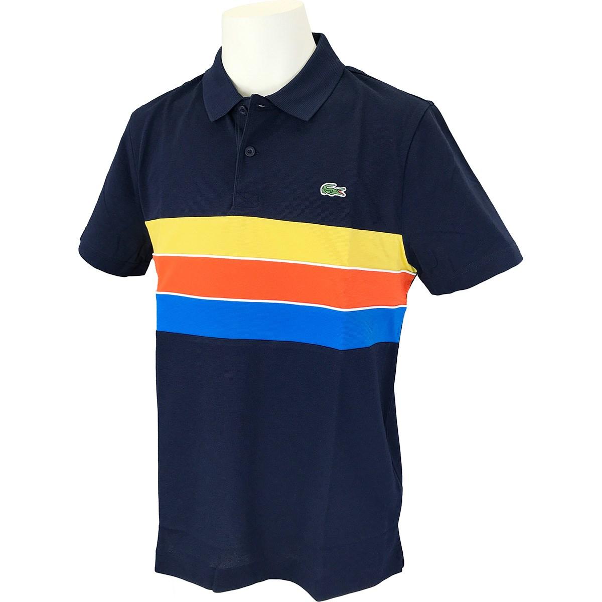 ラコステ ドライコットンボーダーパネル 半袖ポロシャツ