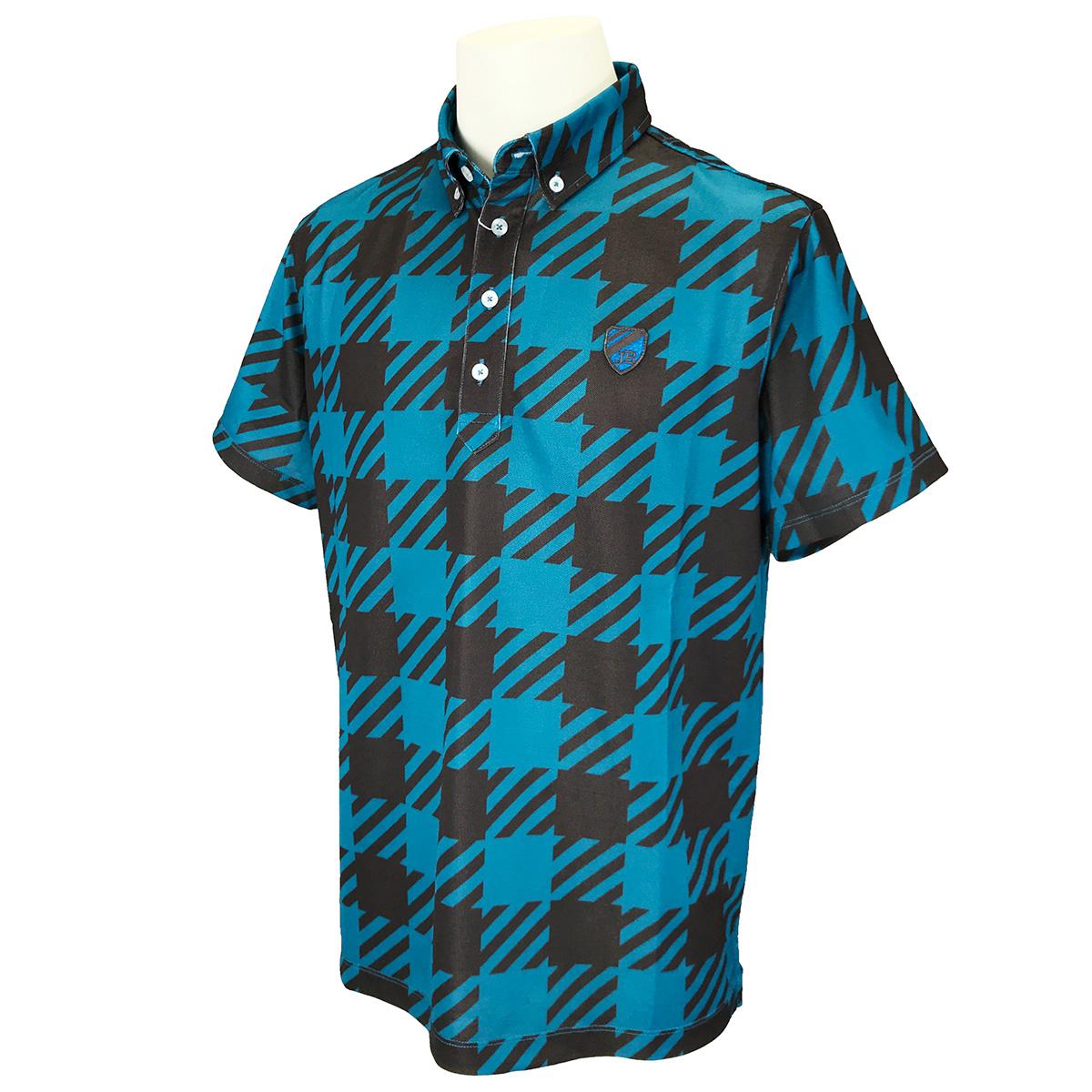 ベア鹿の子ビッグチェック柄 半袖ポロシャツ