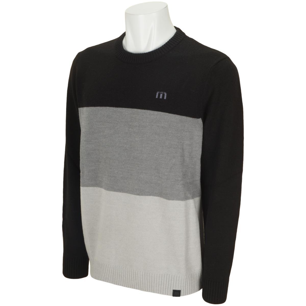 クルーネックブロックセーター