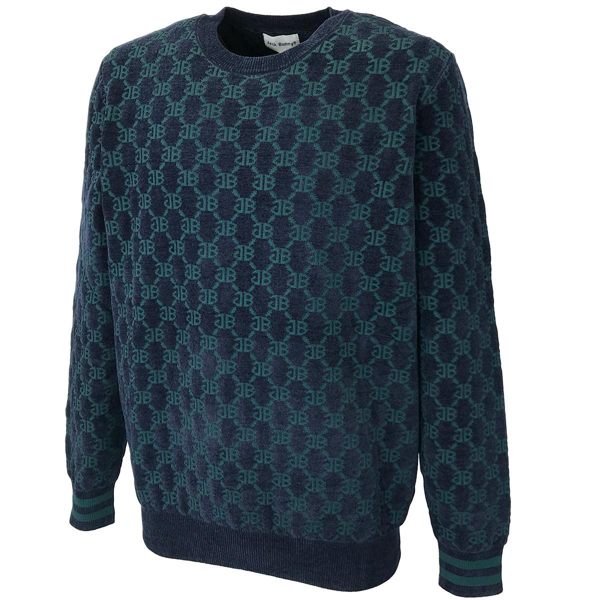 モノグラム柄 ジャカード丸首セーター