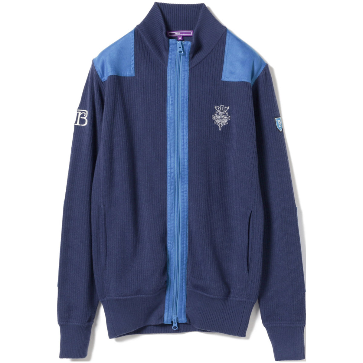BEAMS GOLF PURPLE LABEL RETURN BRITISH フルジップ ニット ブルゾン