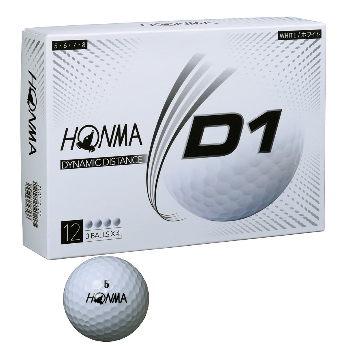 本間ゴルフ HONMA D1 ボール 2020年モデル 1ダース(12個入り) ホワイト(ハイナンバー)