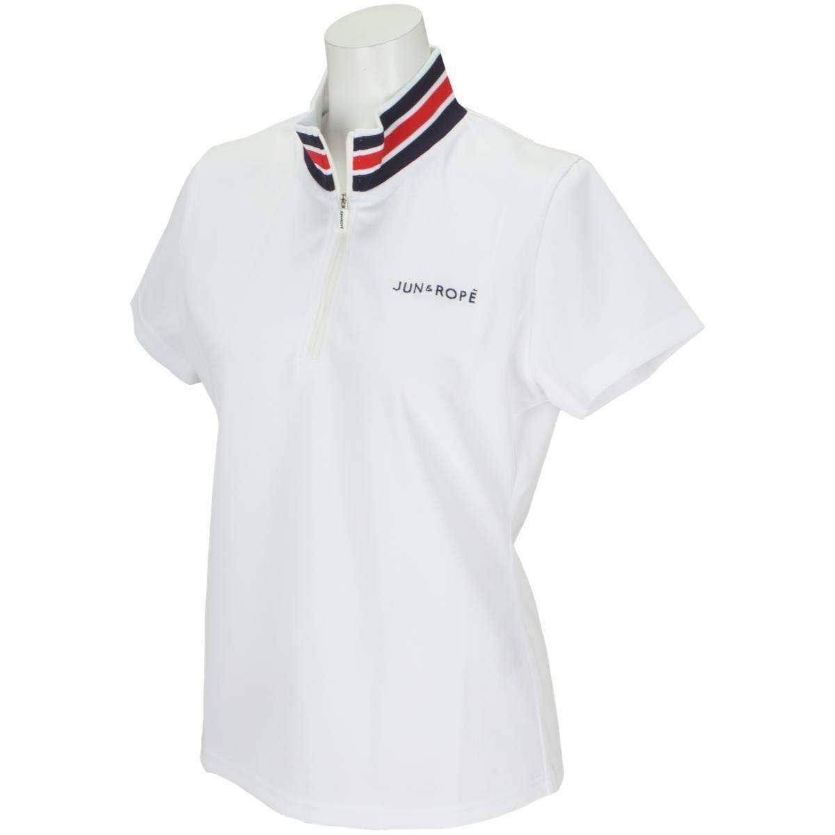 ジュン アンド ロペ JUN & ROPE 衿テレコジップアップ半袖シャツ S ホワイト 10 レディス