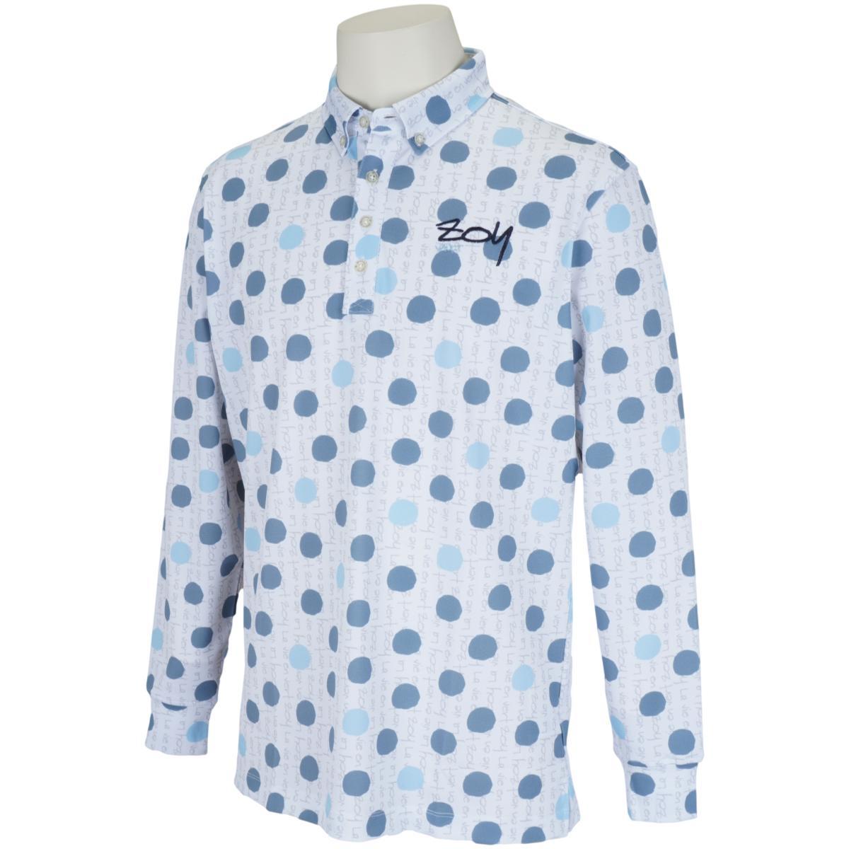 ロゴドットプリント 長袖ポロシャツ