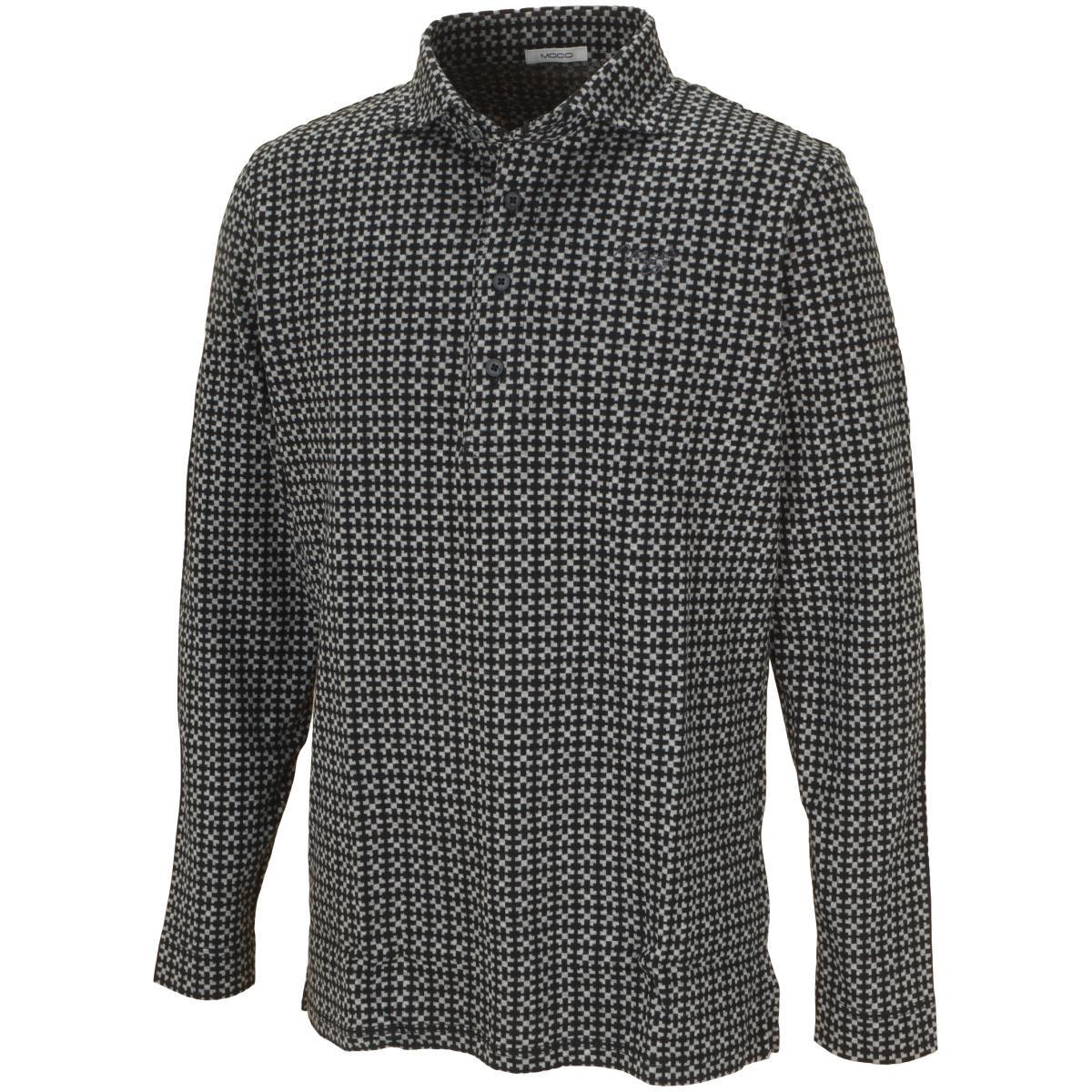 モコ MOCO ジオメタリック ジャカード長袖シャツ 48 ブラック