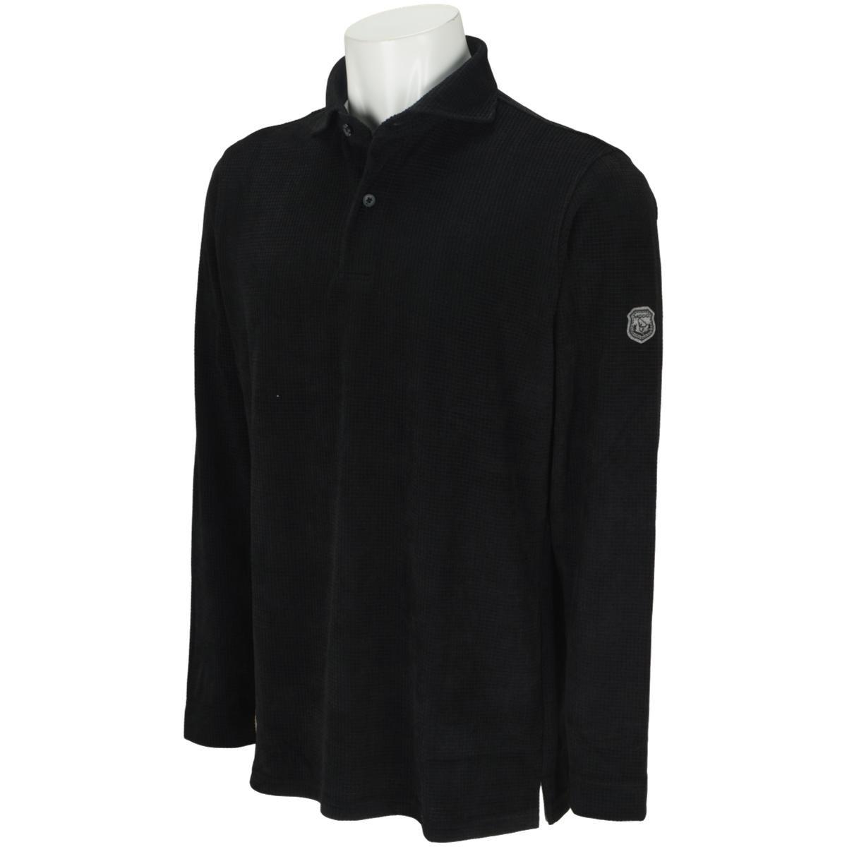 モコ MOCO ジャカードワッフル ベロア長袖シャツ 50 ブラック