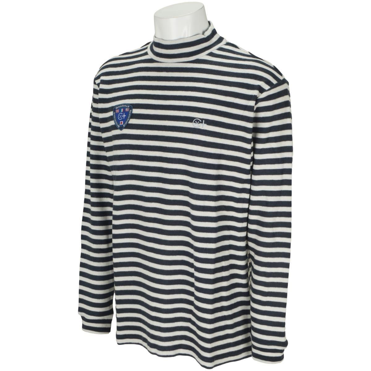 カミーチャスポルティーバプラス Camicia Sportiva+ 起毛ボーダー長袖モックネックシャツ 50 オフホワイト
