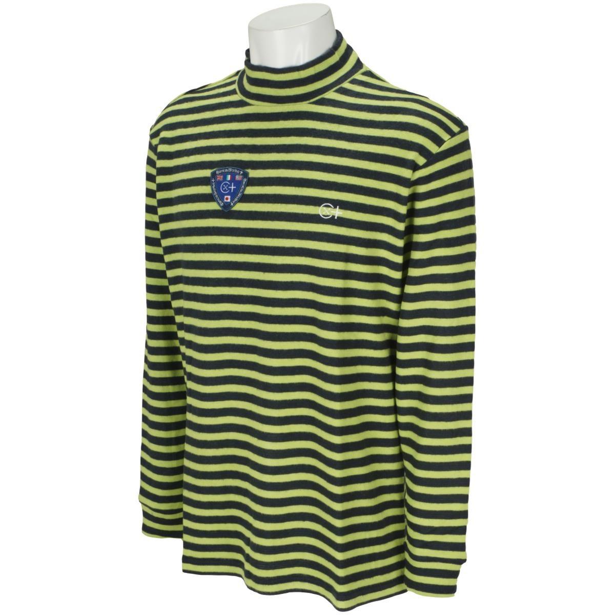 カミーチャスポルティーバプラス Camicia Sportiva+ 起毛ボーダー長袖モックネックシャツ 48 ライトグリーン
