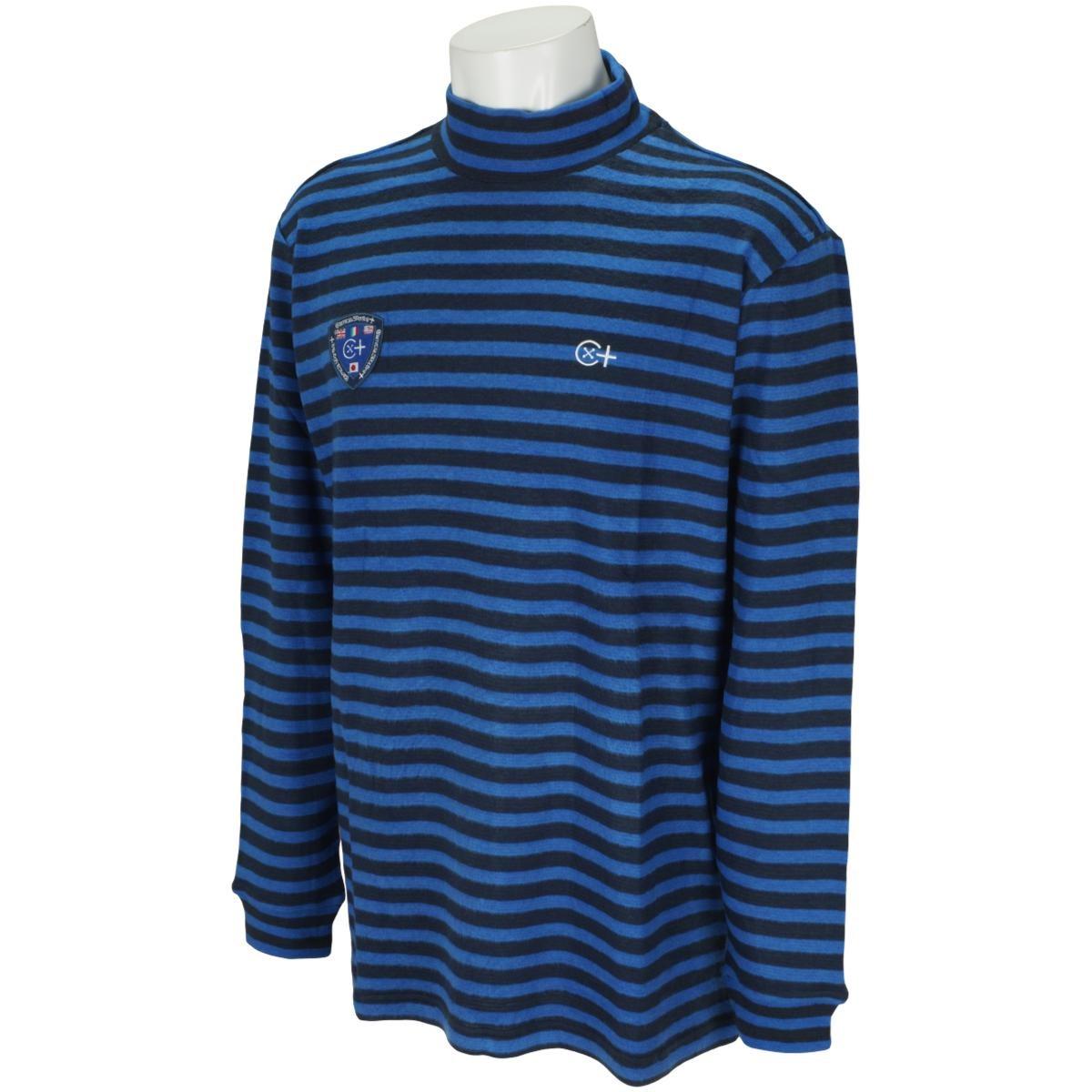 カミーチャスポルティーバプラス Camicia Sportiva+ 起毛ボーダー長袖モックネックシャツ 50 ブルー