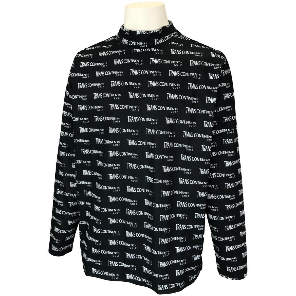 トランスコンチネンツ TRANS CONTINENTS 総柄ハイネックシャツ L ブラック