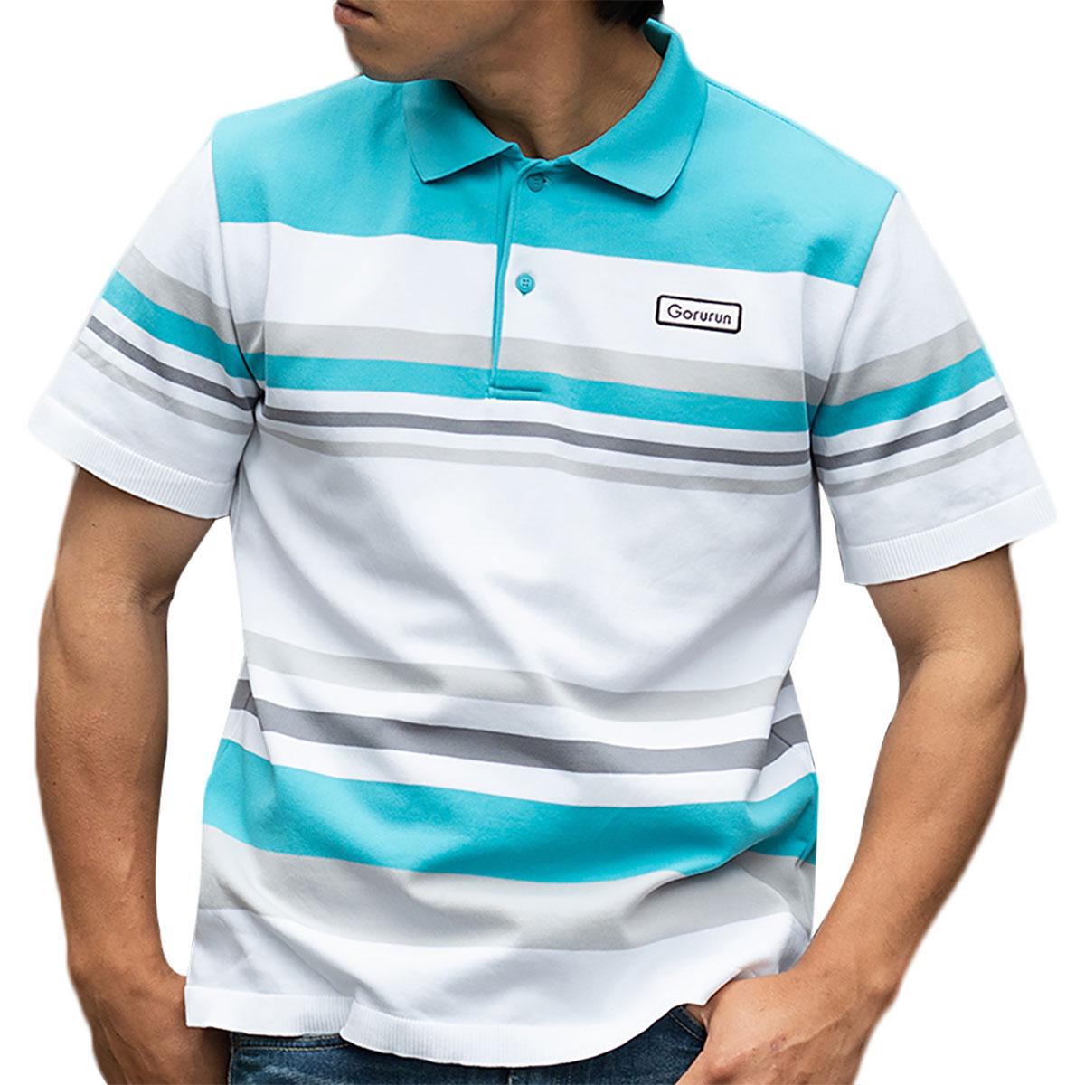 マルチボーダーニット 半袖ポロシャツ