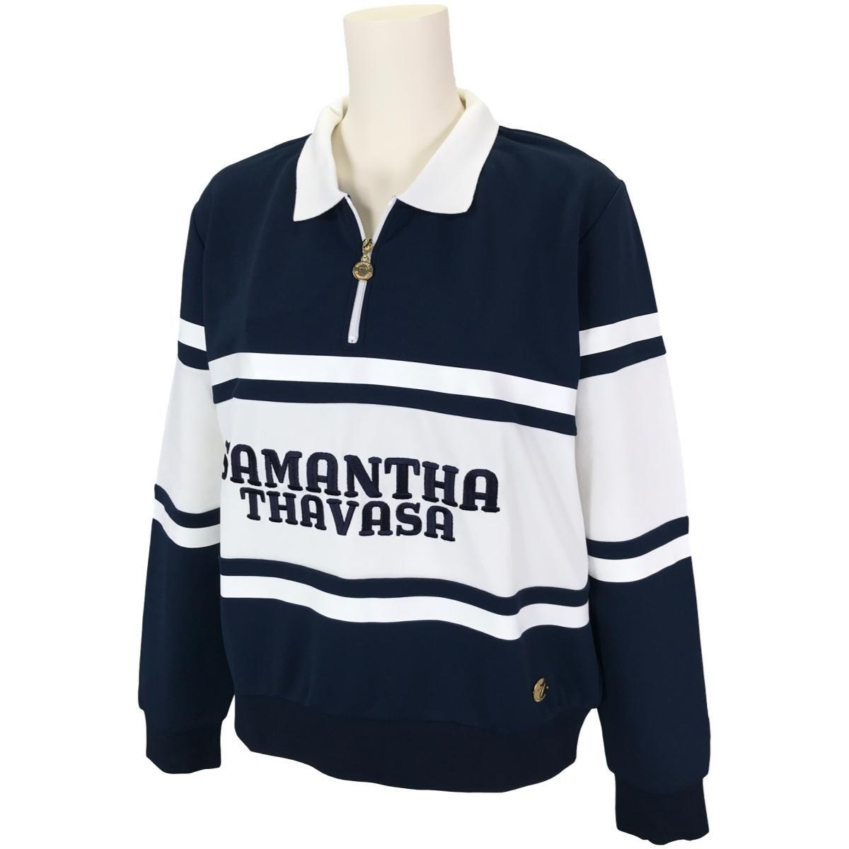 サマンサタバサ Samantha Thavasa UNDER25&No.7 ストレッチラガー長袖ポロシャツ 36 ネイビー レディス