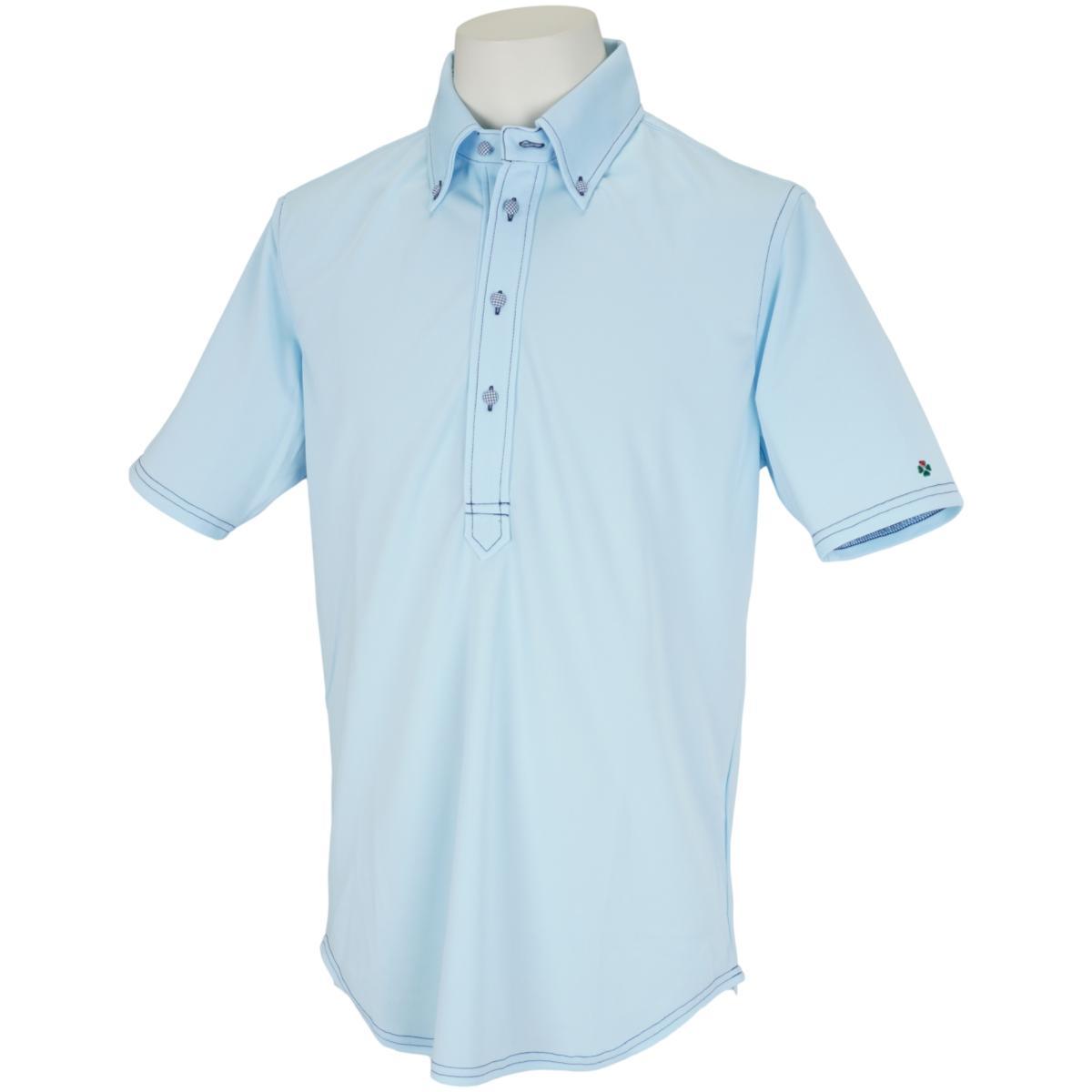 ギンガム包みボタン 半袖ボタンダウンポロシャツ