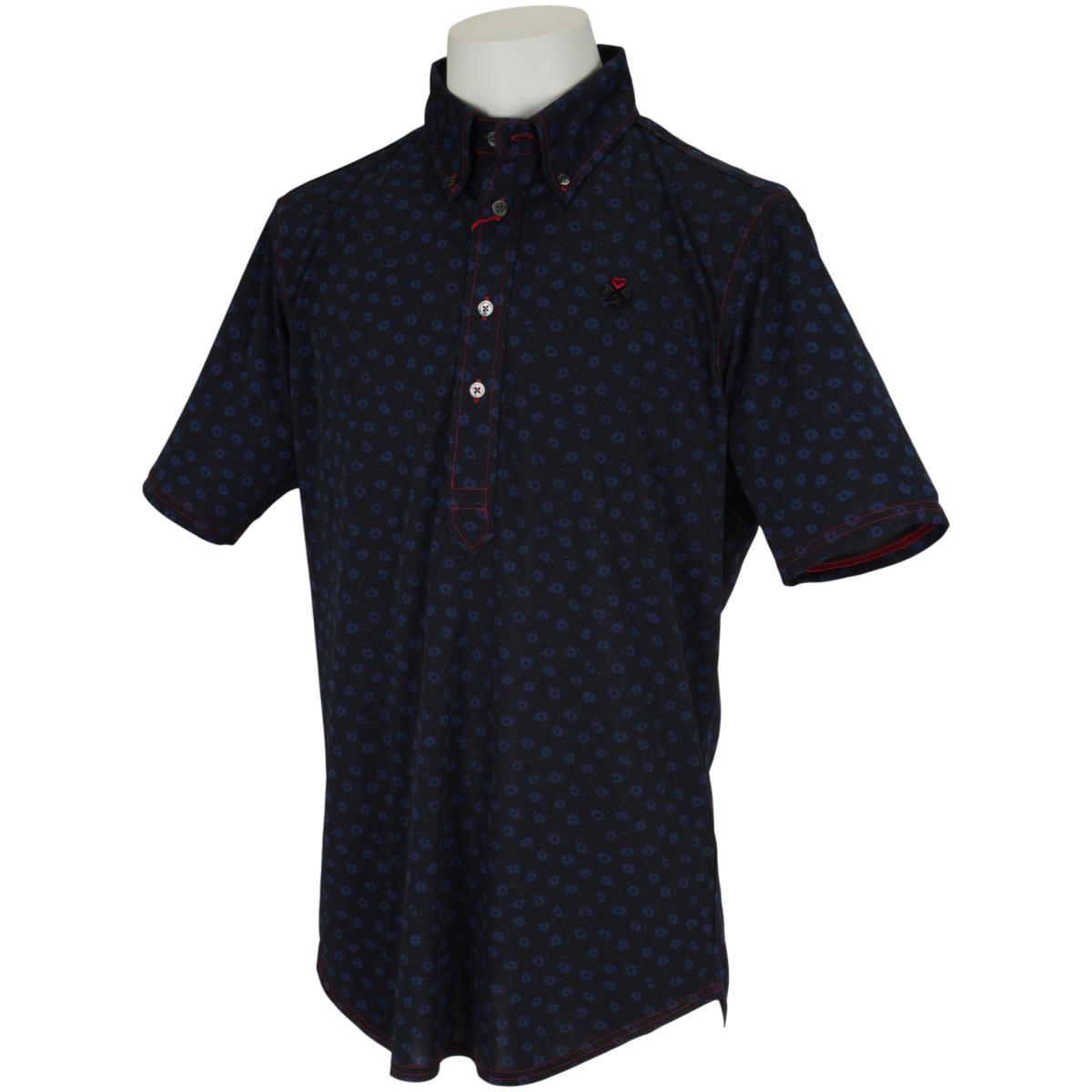 ステッチロゴ スラッシュカラー半袖ポロシャツ