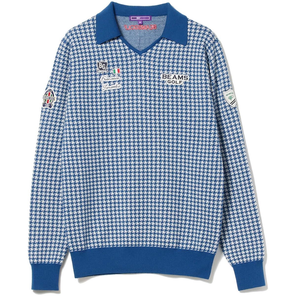 BEAMS GOLF PURPLE LABEL ハウンドトゥース スキッパー セーター