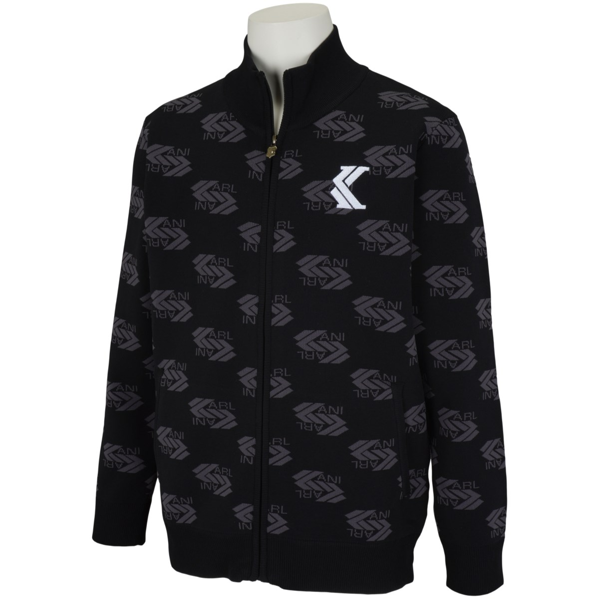 カールカナイゴルフ KARL KANI GOLF 総柄ニットスタンドジャケット XL ブラック 09