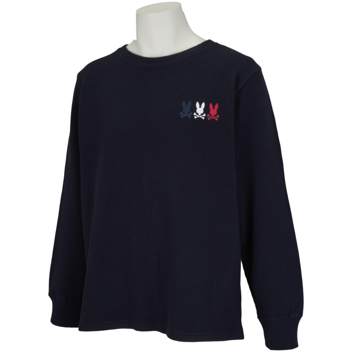 サイコバニー PSYCHO BUNNY トリプルトリコロゴ サーマル長袖Tシャツ L ネイビー