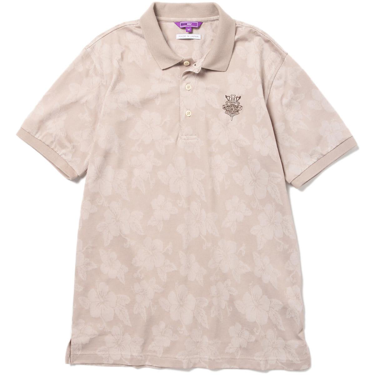 BEAMS GOLF PURPLE LABEL ジャカード フラワー ポロシャツ