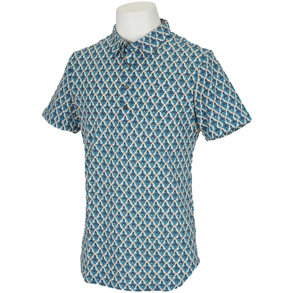 鹿の子 モスクプリント 半袖ポロシャツ