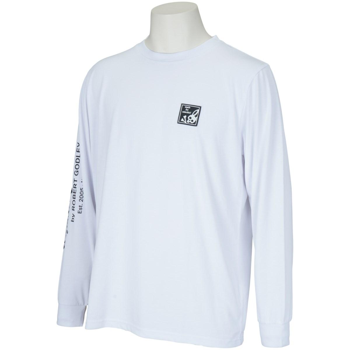 サイコバニー PSYCHO BUNNY ラバーロゴ長袖Tシャツ M ホワイト
