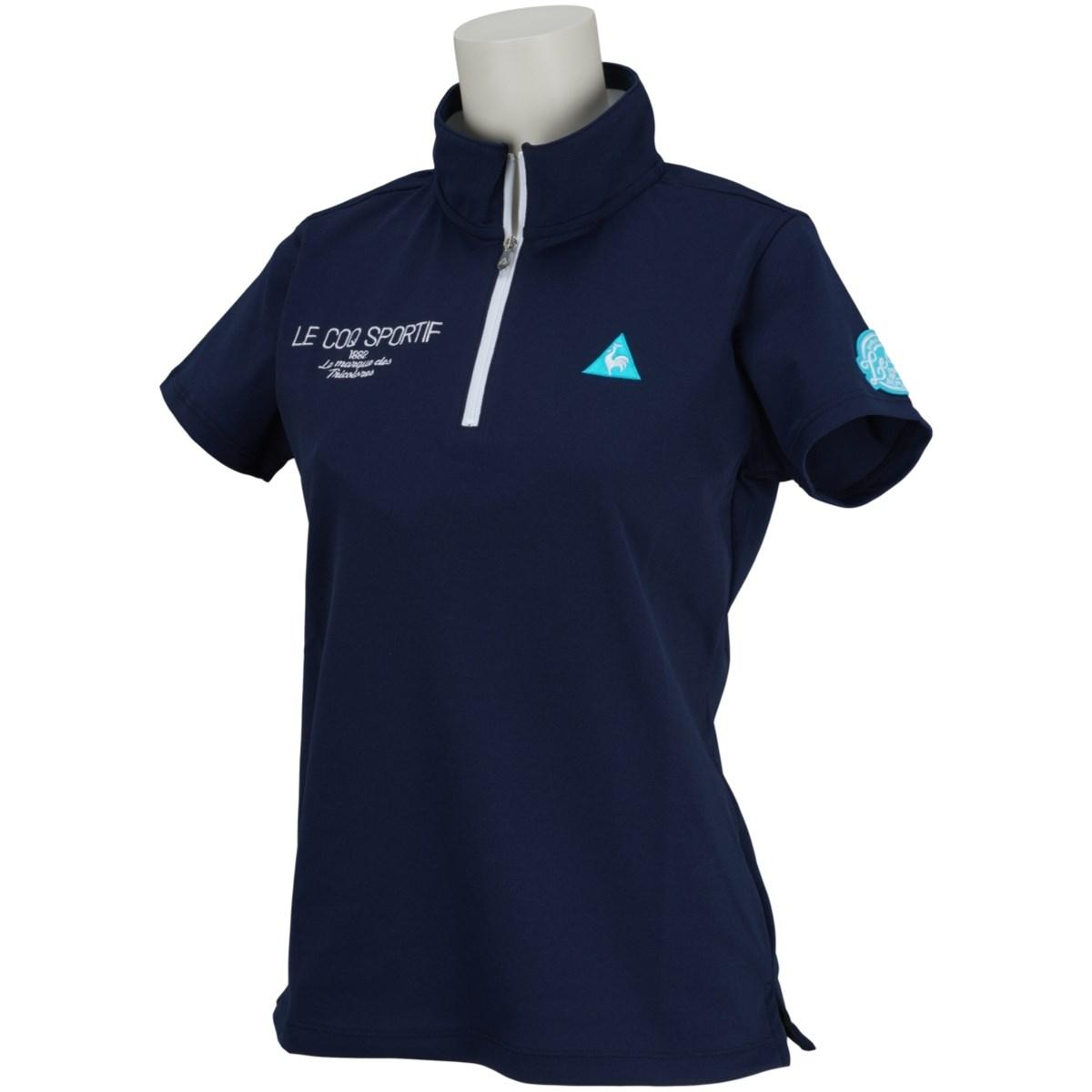 ルコックゴルフ Le coq sportif GOLF ハーフジップスタンドカラー 半袖シャツ S ネイビー 00 レディス
