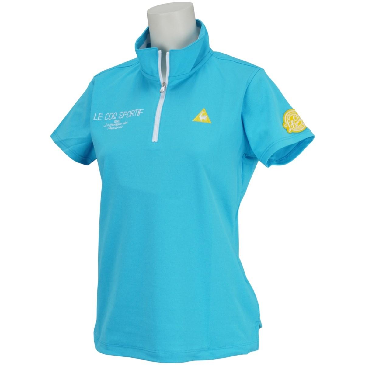 ルコックゴルフ Le coq sportif GOLF ハーフジップスタンドカラー 半袖シャツ S サックス 00 レディス