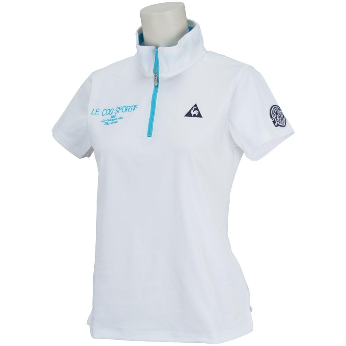 ルコックゴルフ Le coq sportif GOLF ハーフジップスタンドカラー 半袖シャツ S ホワイト 00 レディス