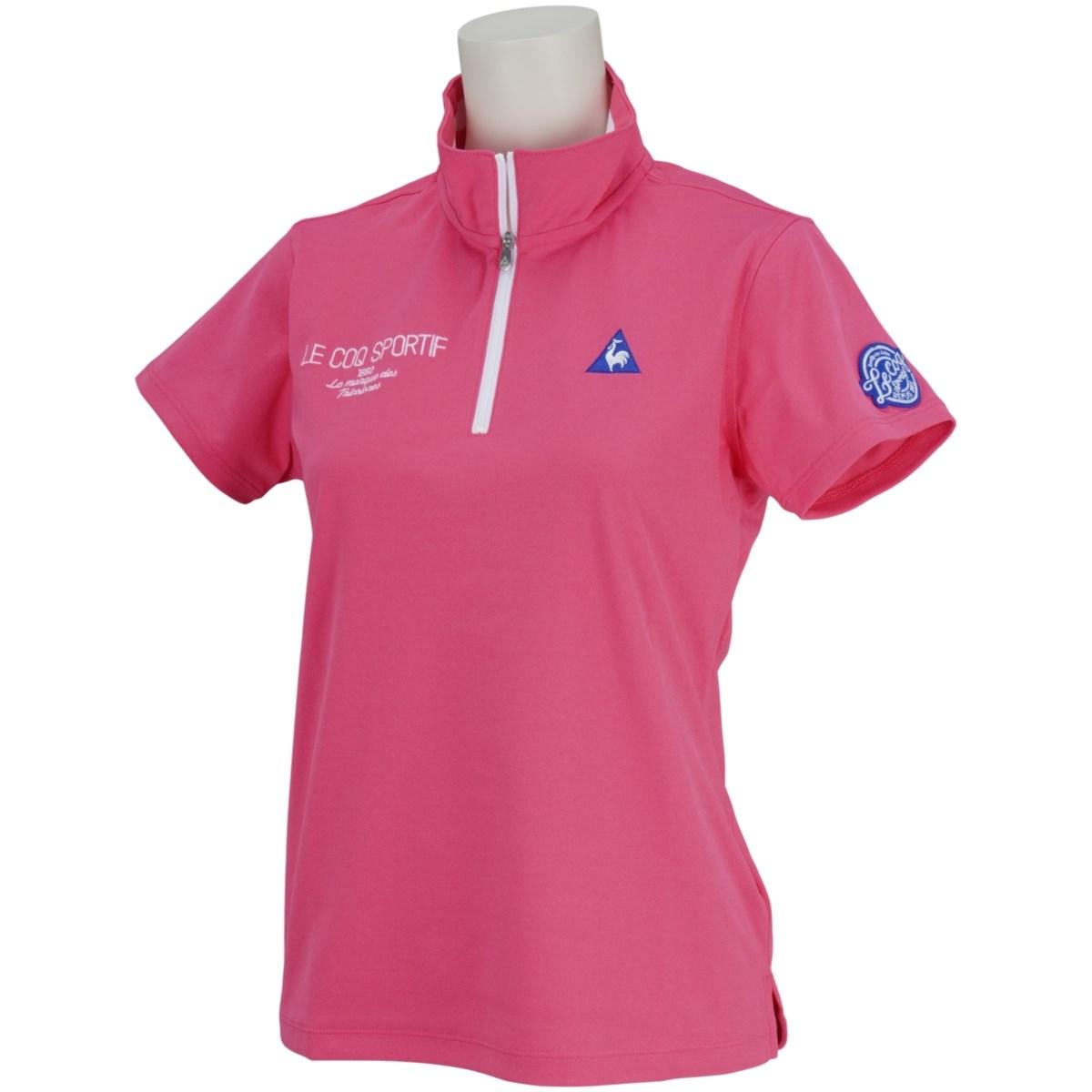 ルコックゴルフ Le coq sportif GOLF ハーフジップスタンドカラー 半袖シャツ S ピンク 00 レディス