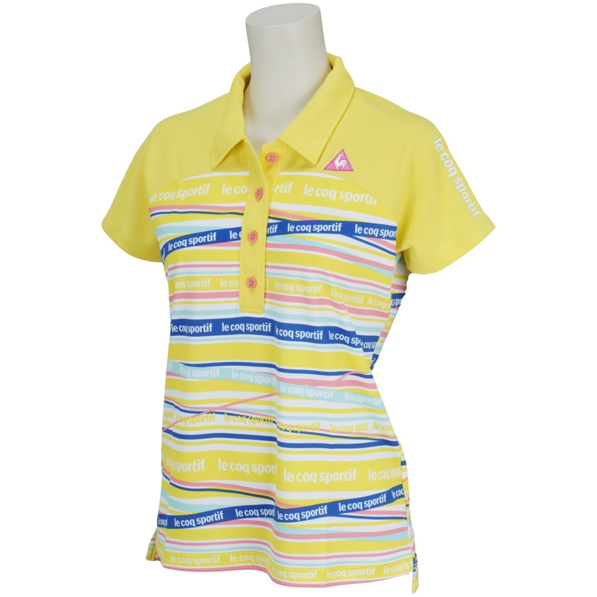 ルコックゴルフ Le coq sportif GOLF マルチボーダー 半袖ポロシャツ M イエロー 00 レディス