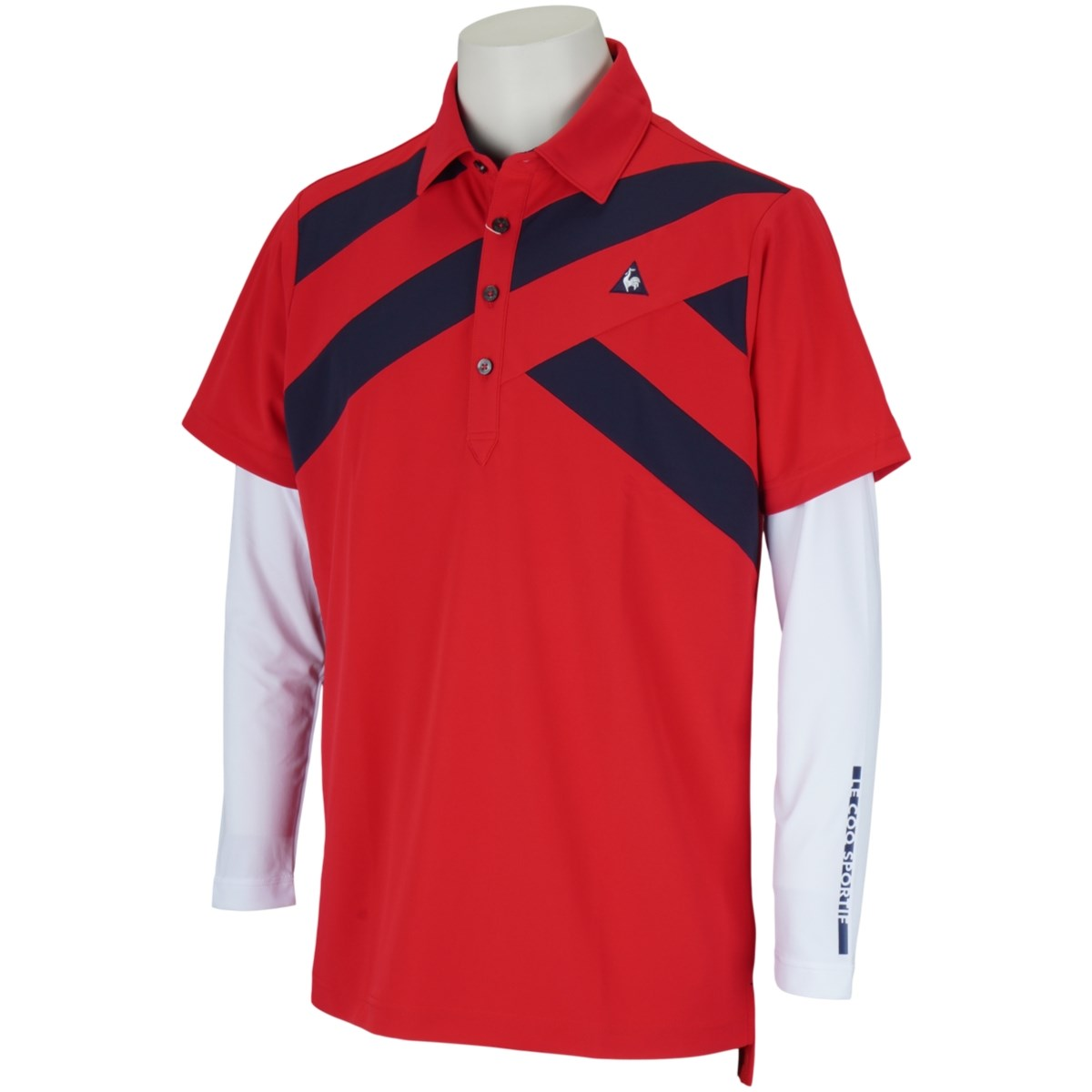 ルコックゴルフ Le coq sportif GOLF 長袖アンダーシャツ付き ストレッチ半袖ポロシャツ M レッド 00