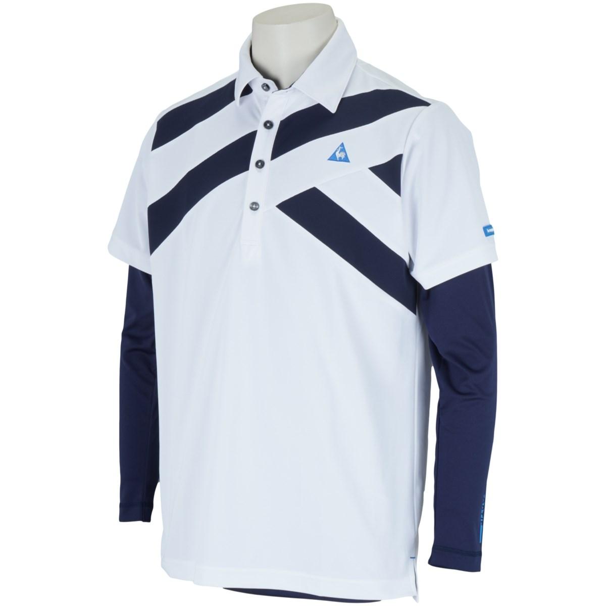 ルコックゴルフ Le coq sportif GOLF 長袖アンダーシャツ付き ストレッチ半袖ポロシャツ M ホワイト 00