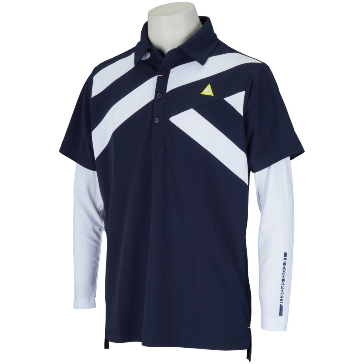 ルコックゴルフ Le coq sportif GOLF 長袖アンダーシャツ付き ストレッチ半袖ポロシャツ M ネイビー 00