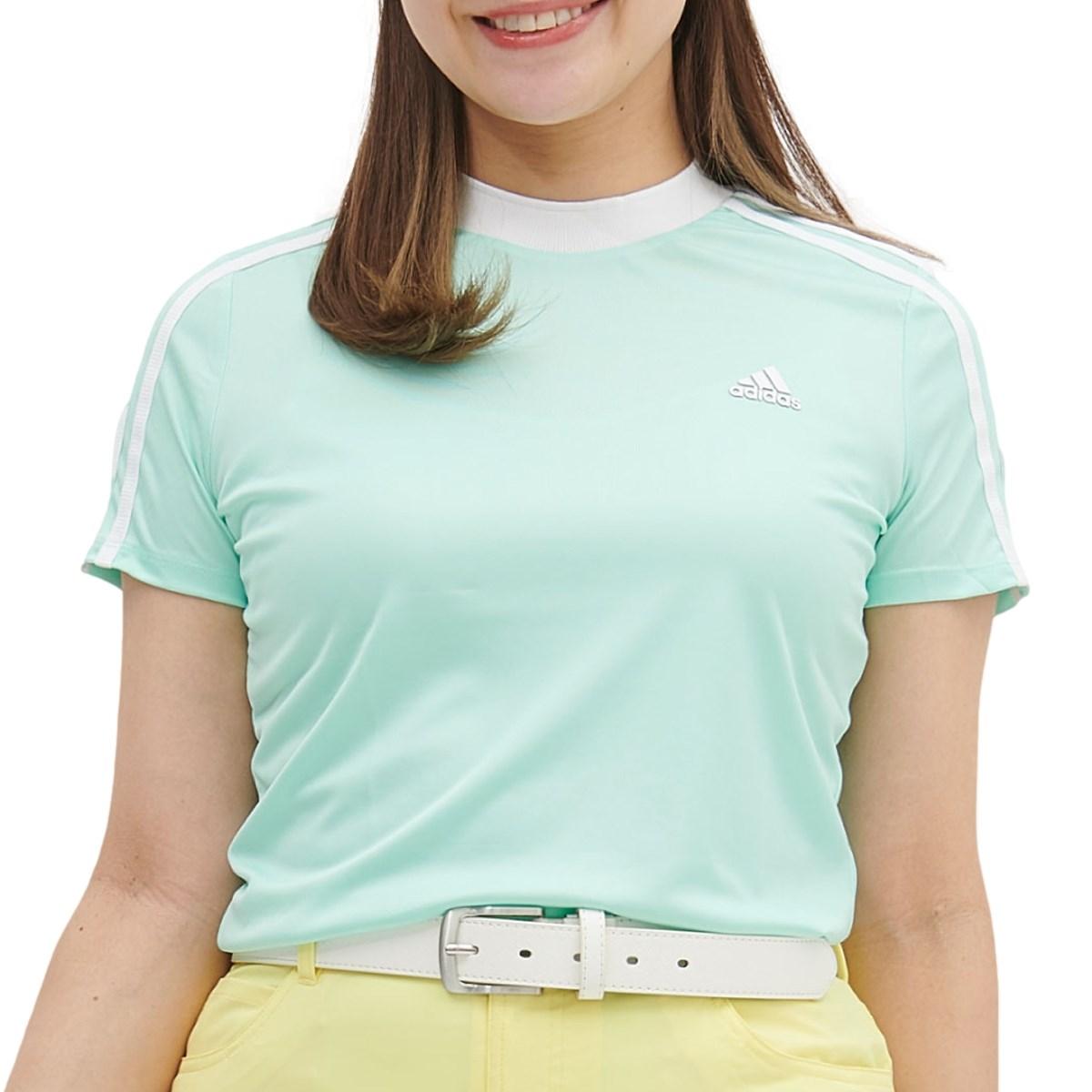 アディダス Adidas スリーブストライプス 半袖モックネックシャツ J/S ライトピンク/ハイレゾイエロー レディス