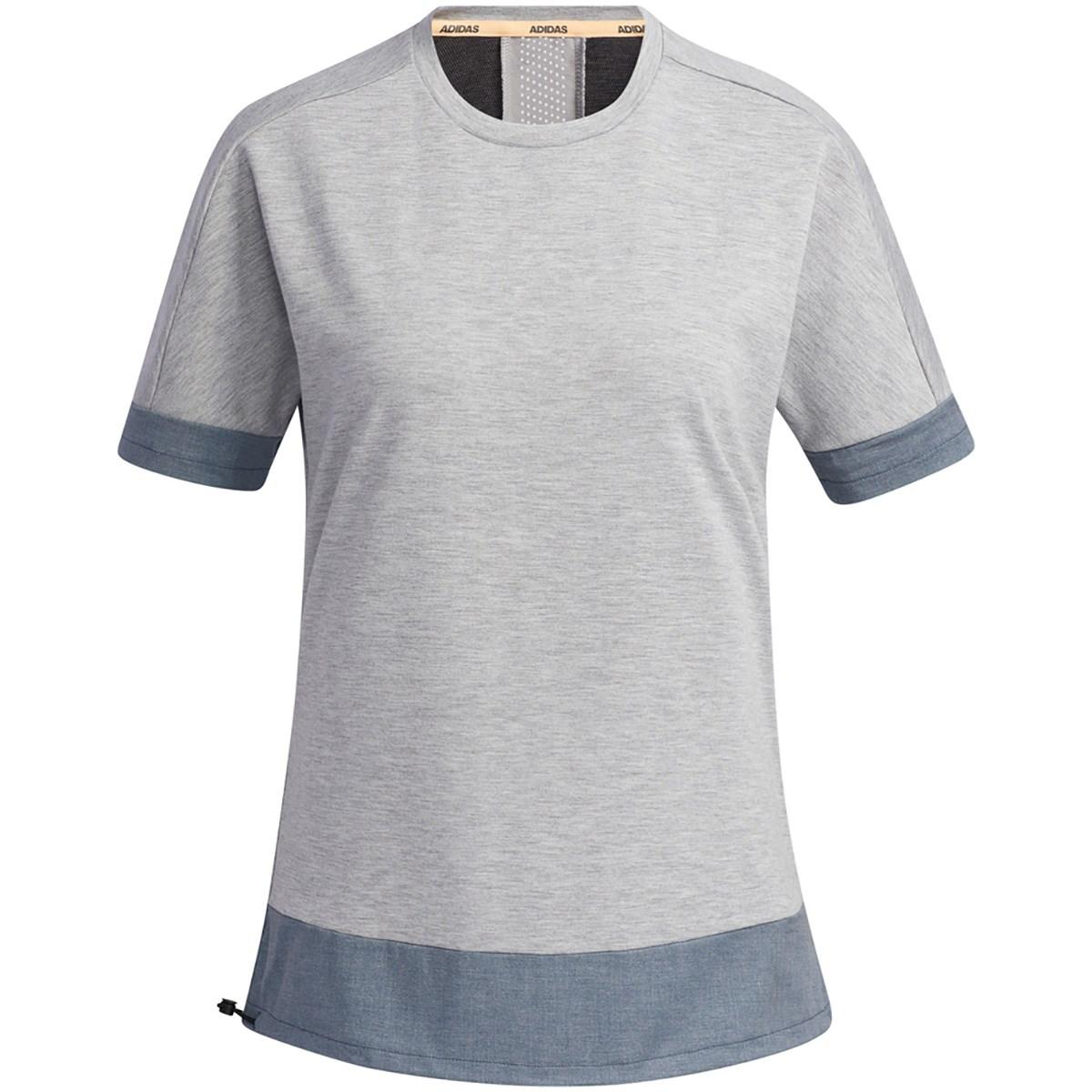 アディダス Adidas ファブリックミックス 半袖クルーネックシャツ J/M ミディアムグレーヘザー/クルーネイビー レディス