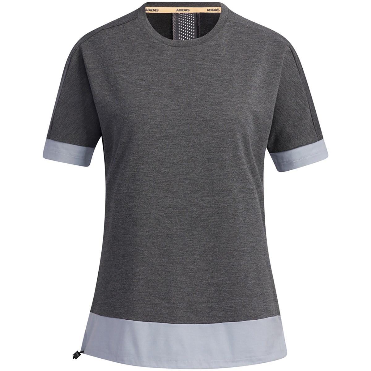 アディダス Adidas ファブリックミックス 半袖クルーネックシャツ J/S ブラックメランジ/ヘイローシルバー レディス