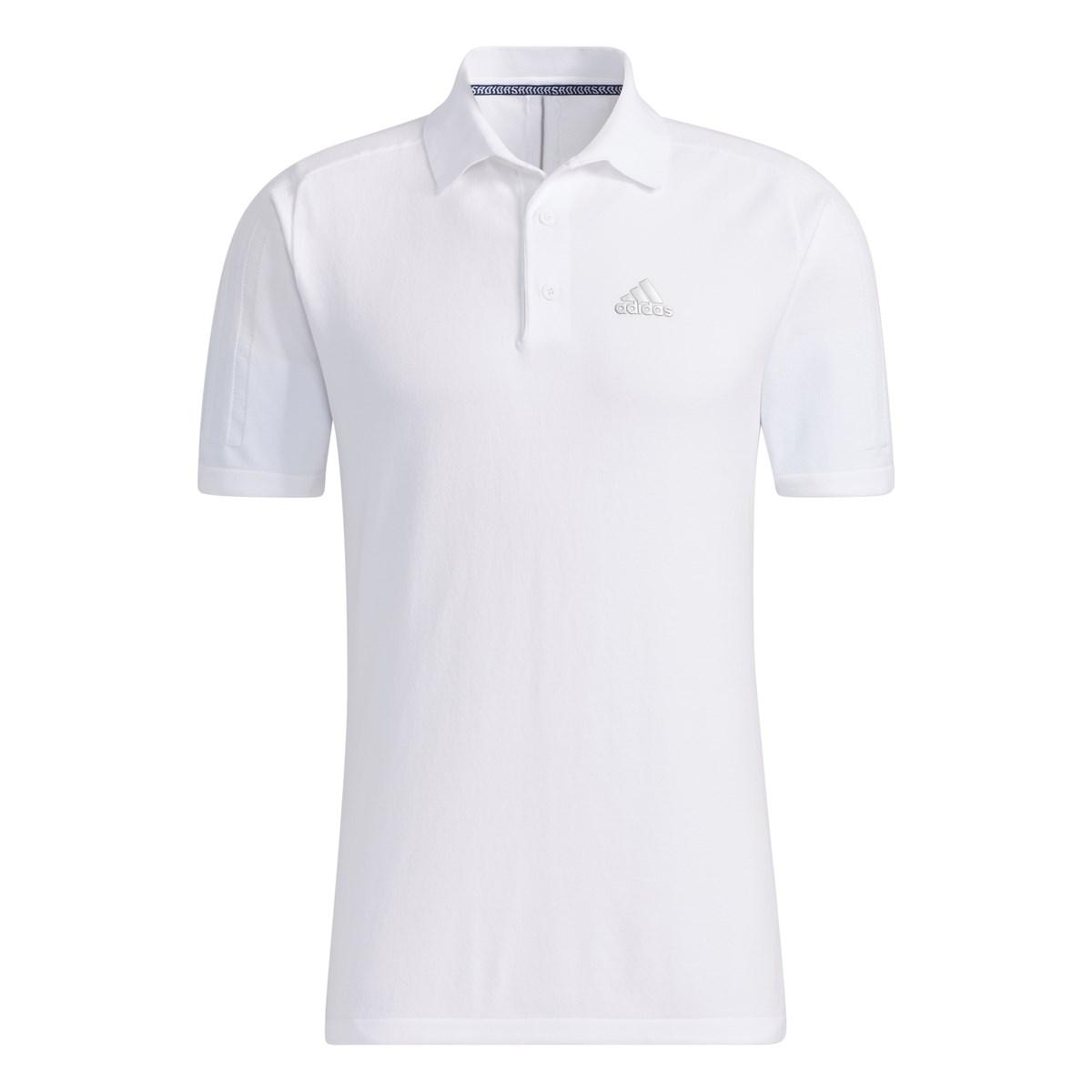 アディダス Adidas ジャカードスリーストライプス ストレッチ半袖セーターポロシャツ J/O ホワイト
