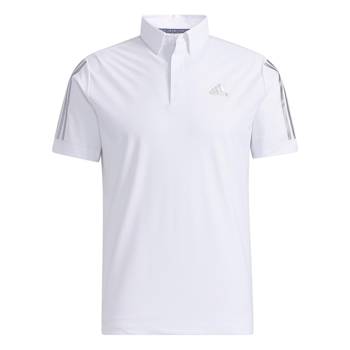 アディダス Adidas スリーブ ストライプス ストレッチ半袖ボタンダウンポロシャツ J/M ホワイト